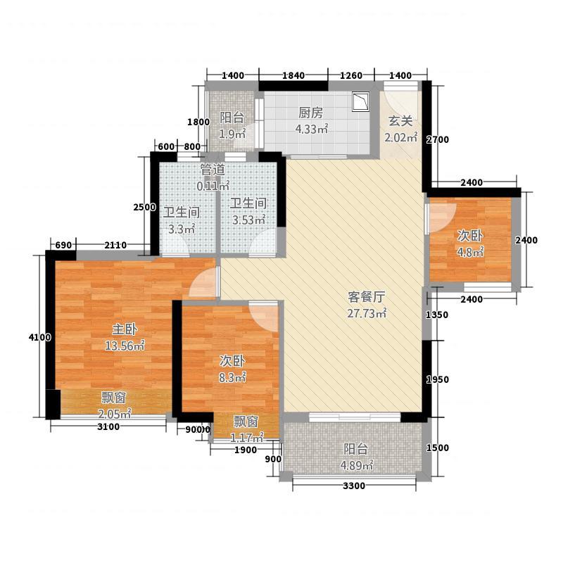 时代倾城(顺德)77.20㎡时代倾城D户型3室2厅2卫1厨