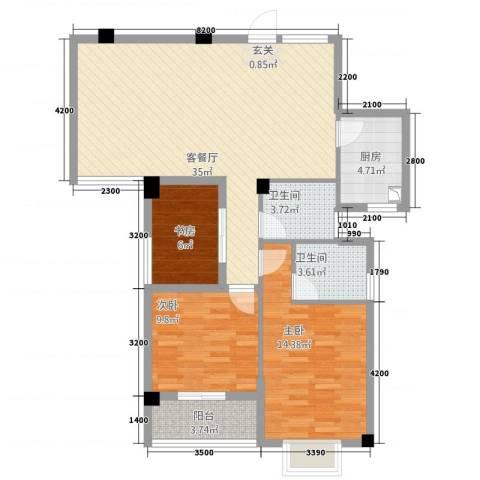 阳光名邸3室1厅2卫1厨3515.00㎡户型图