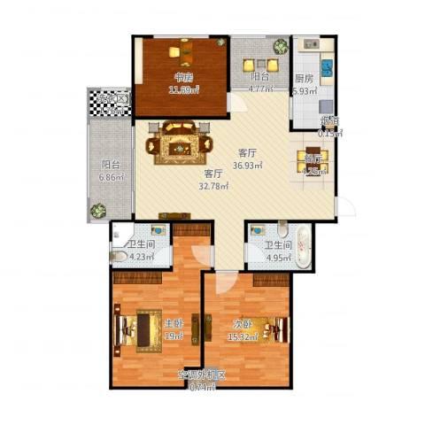 明珠花园3室1厅2卫1厨151.00㎡户型图