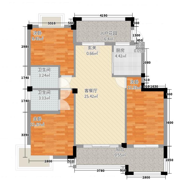 江都金域地中海121.20㎡户型3室2厅2卫1厨