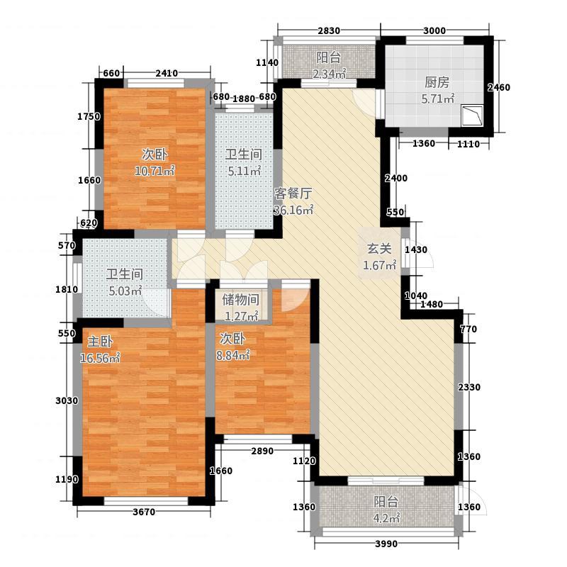 东润朗郡114.77㎡E户型3室2厅2卫1厨