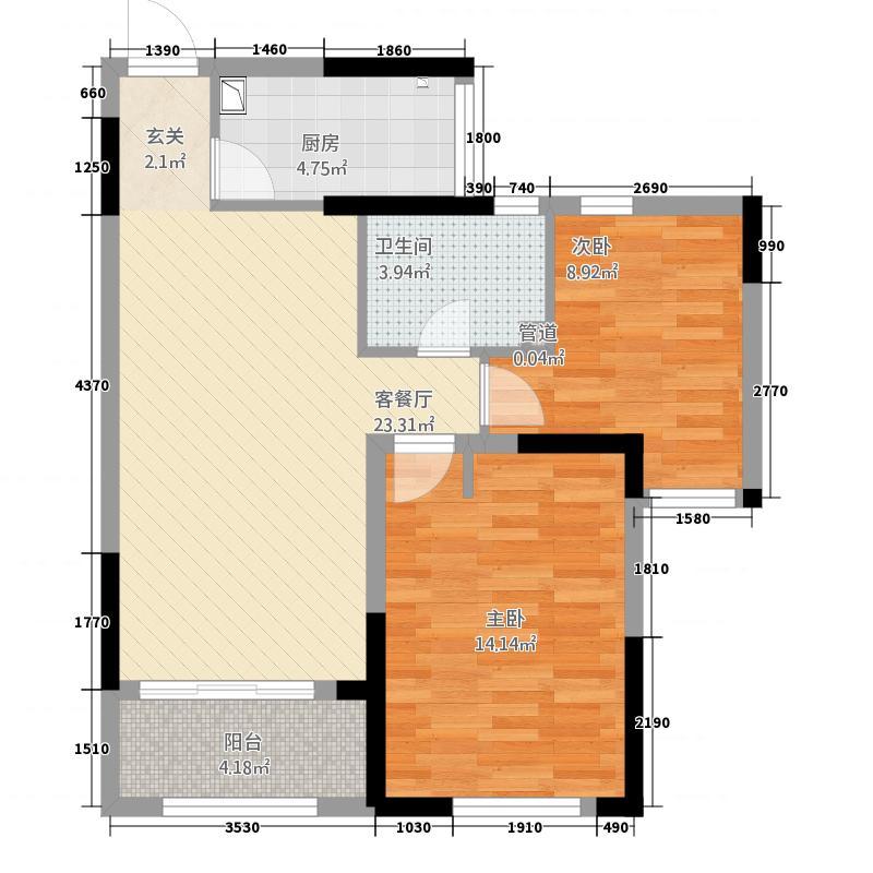 惠天然・锦绣福邸87.20㎡三户型2室2厅1卫1厨