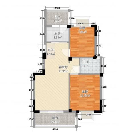 江都金域地中海2室1厅1卫1厨84.00㎡户型图