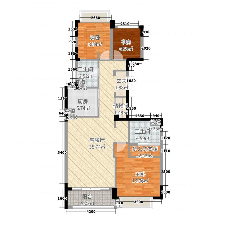 嘉城梓园13121.20㎡D1户型3室2厅2卫1厨