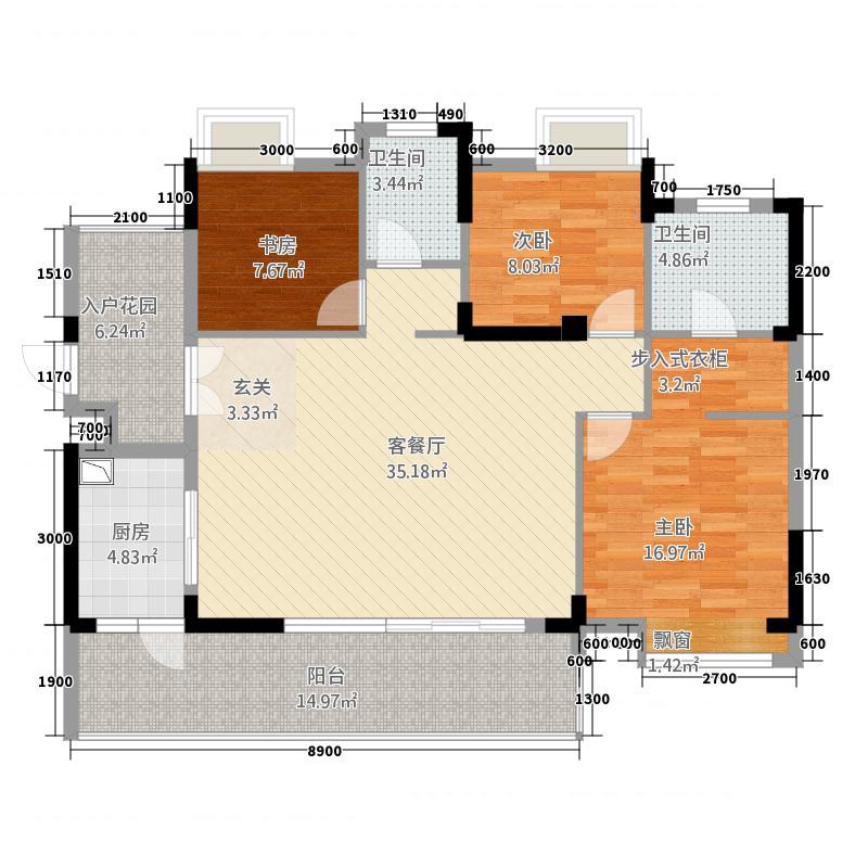 仙桃福星城2124.20㎡C2户型3室2厅2卫