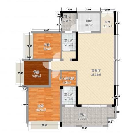 花滩国际新城丁香郡3室1厅2卫1厨106.39㎡户型图