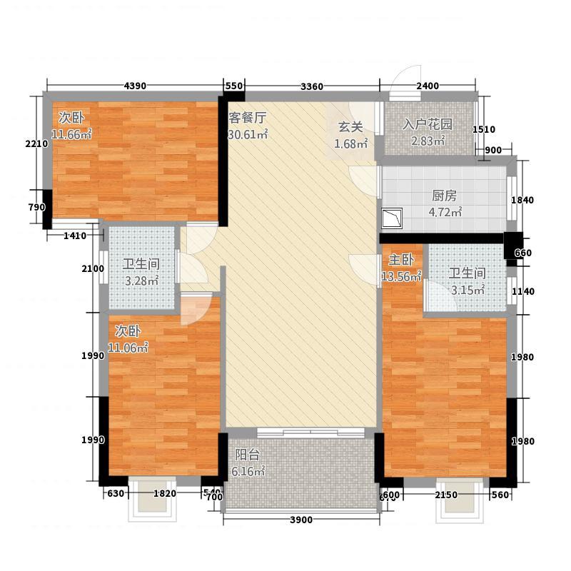 盛世龙城432116.78㎡4#E户型3室2厅2卫1厨