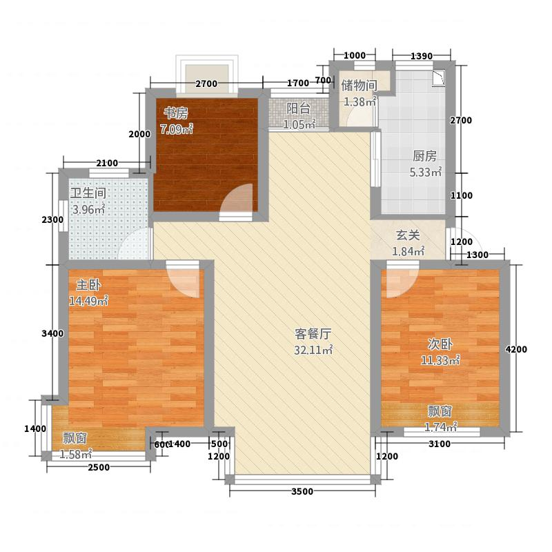 金域水岸32.20㎡B户型3室2厅1卫1厨