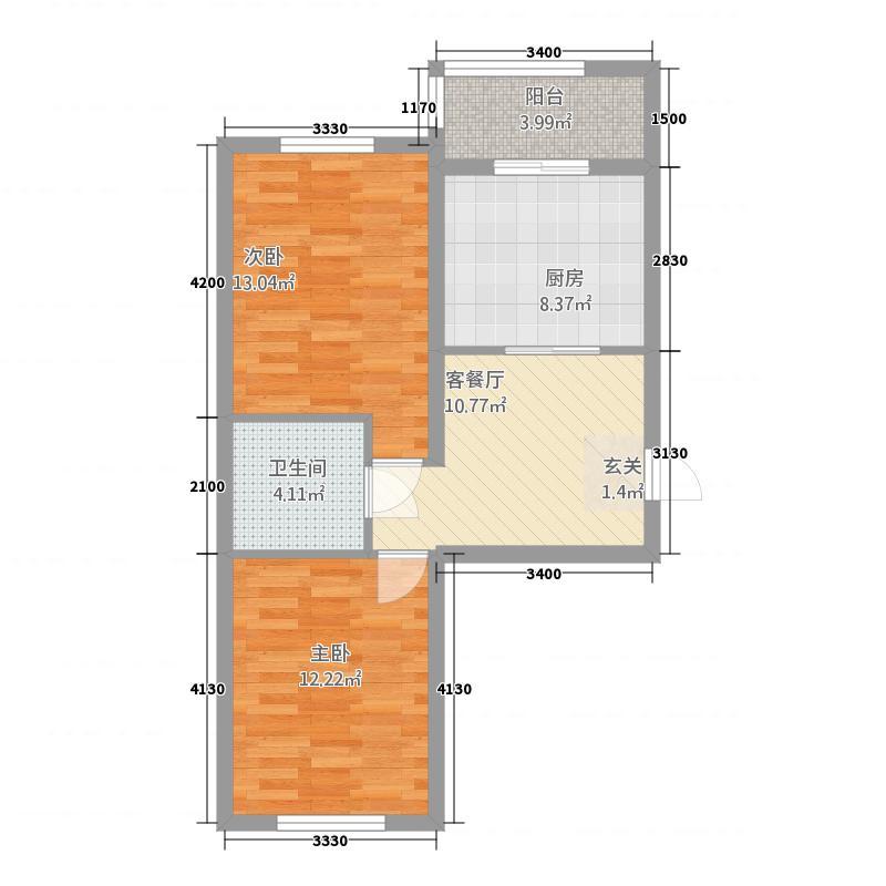 龙山国际387.62㎡(3)户型2室2厅1卫1厨