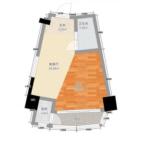 金凤凰大厦1厅1卫1厨51.00㎡户型图