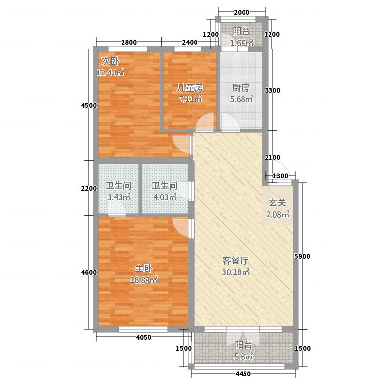 吉星花园33111.71㎡户型3室2厅2卫1厨