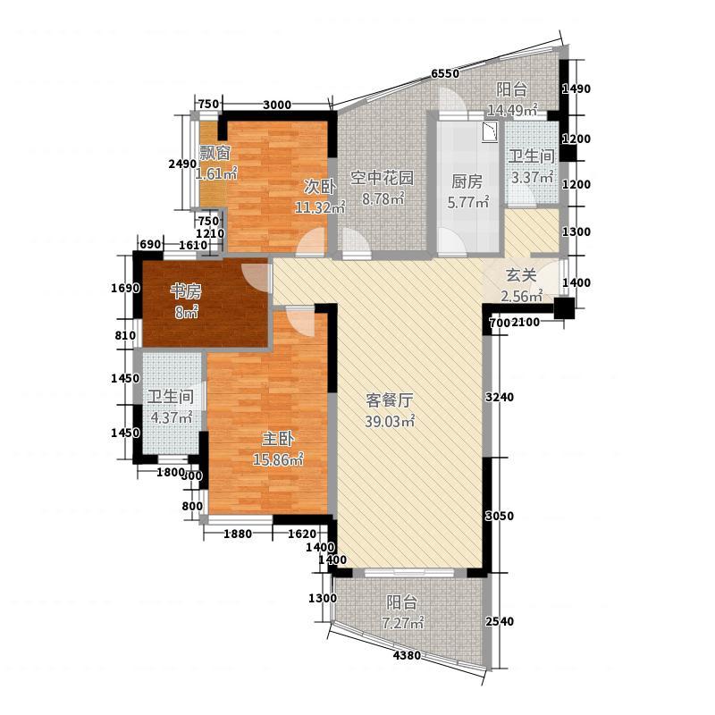 仙桃福星城313.22㎡E户型3室2厅2卫1厨
