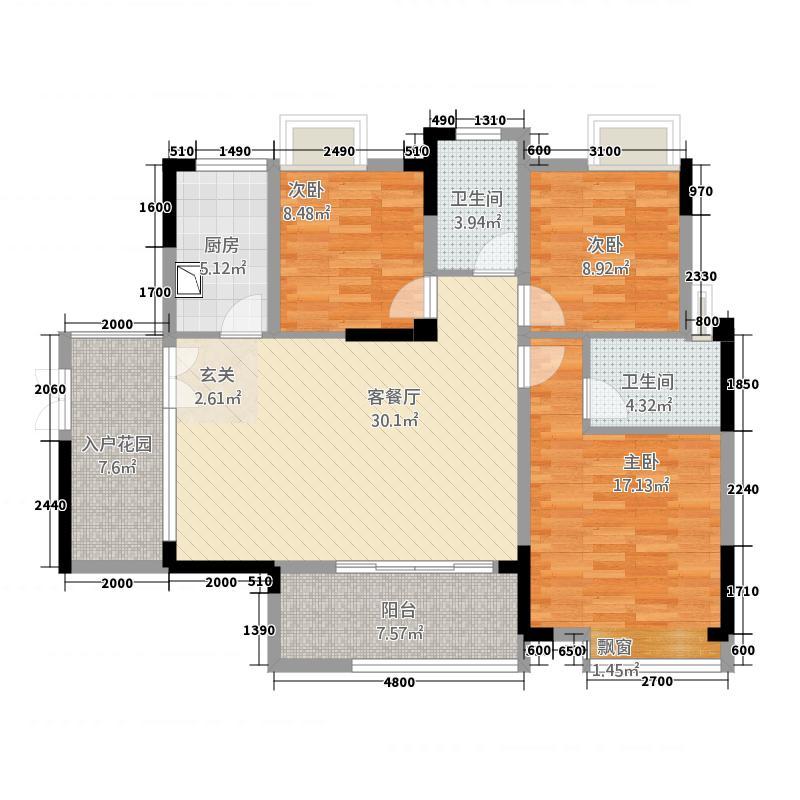 仙桃福星城1121.20㎡C1户型3室2厅2卫