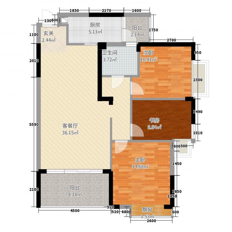 仙桃福星城211.20㎡B2户型3室2厅1卫