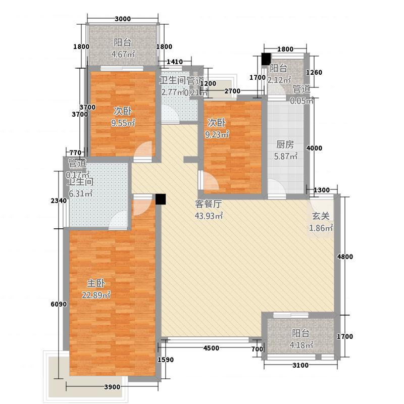 澜山・悦4113.11㎡E4-1户型3室2厅2卫1厨