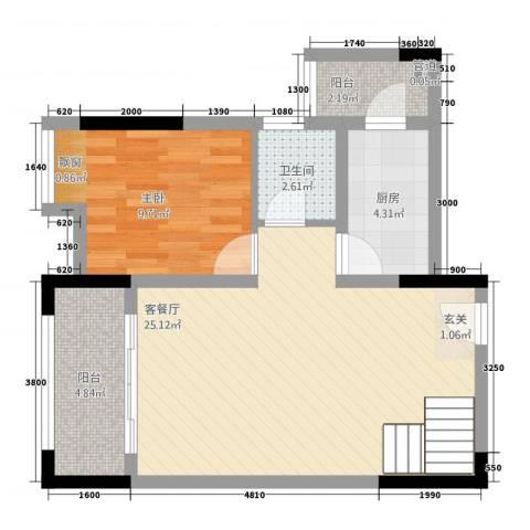 合川金科天籁城1室1厅1卫1厨56.73㎡户型图