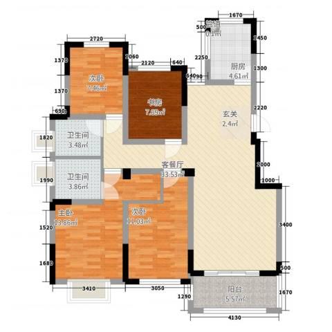 翰林华府4室1厅2卫1厨91.18㎡户型图