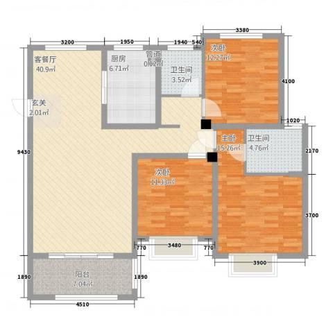 翰林华府3室1厅2卫1厨101.91㎡户型图