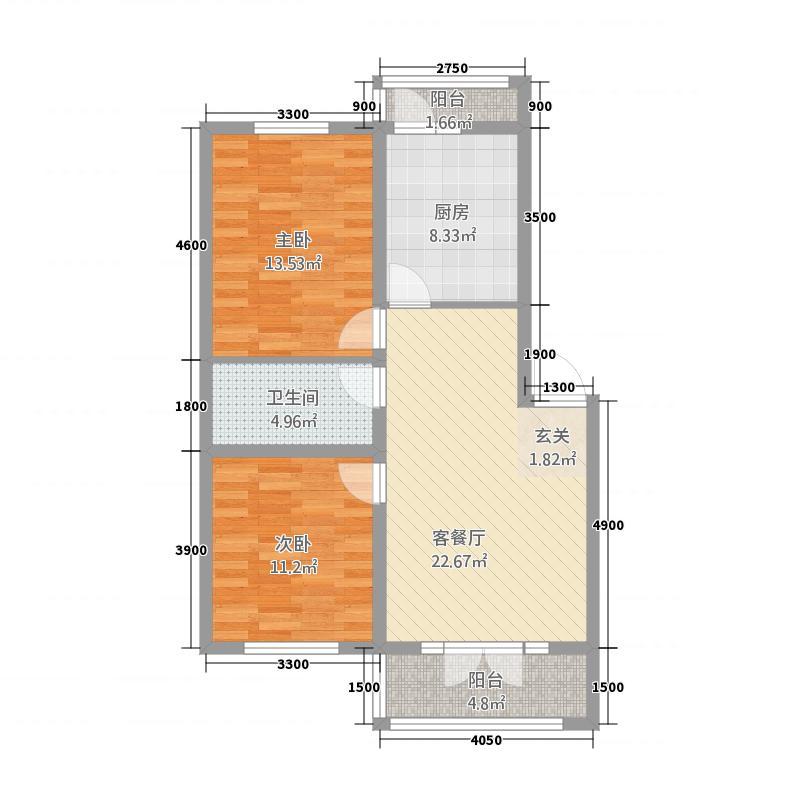 吉星花园22.22㎡户型2室2厅1卫1厨