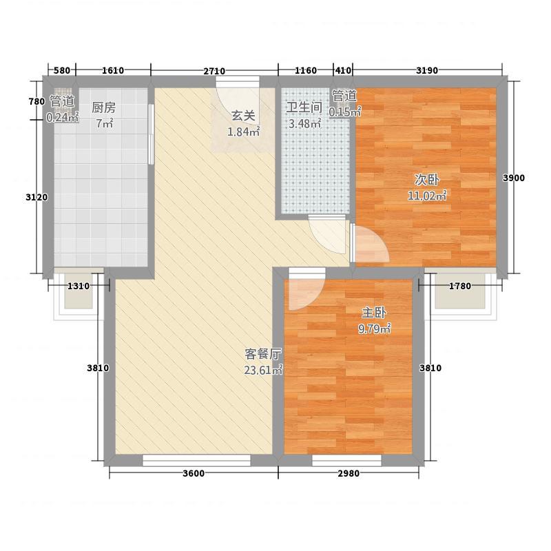 御景山河282.71㎡户型2室1厅1卫1厨