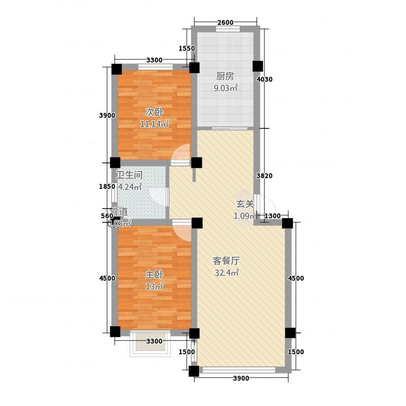 金海名苑24.20㎡户型2室2厅2卫1厨