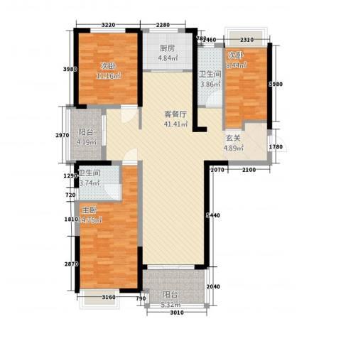 保利建业・香槟国际3室1厅2卫1厨97.71㎡户型图