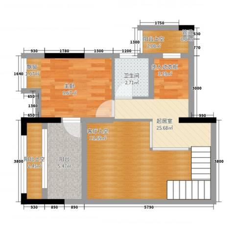 合川金科天籁城1室0厅1卫0厨56.87㎡户型图