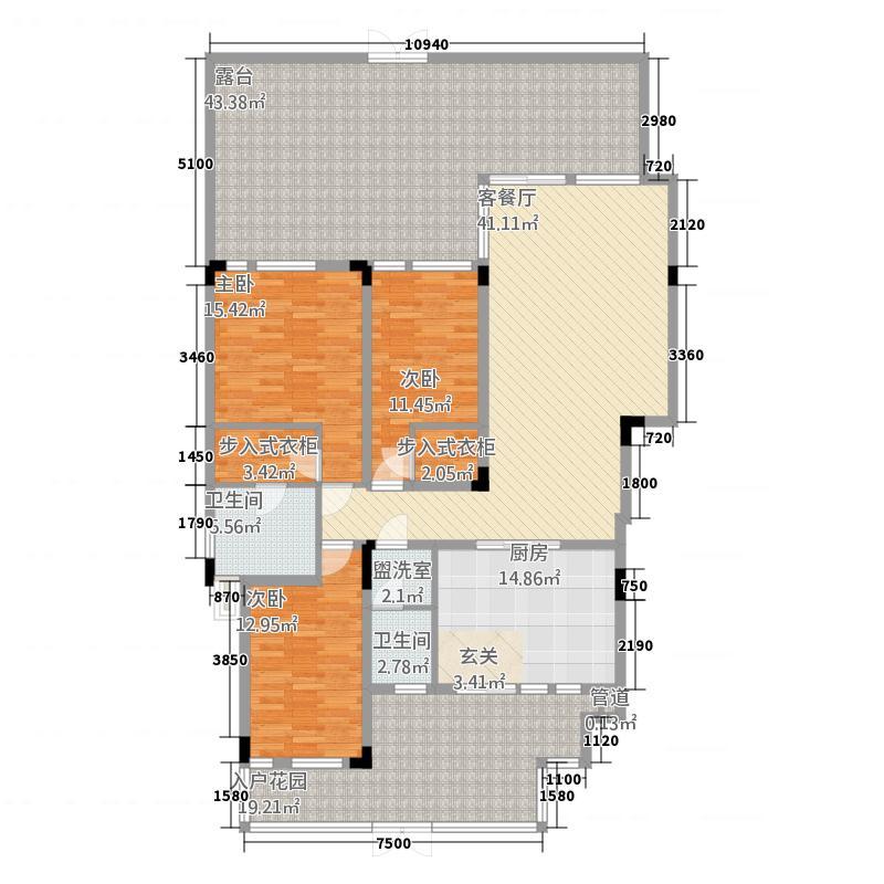 文峰古街135.70㎡一期洋房标准层H1户型3室3厅2卫1厨