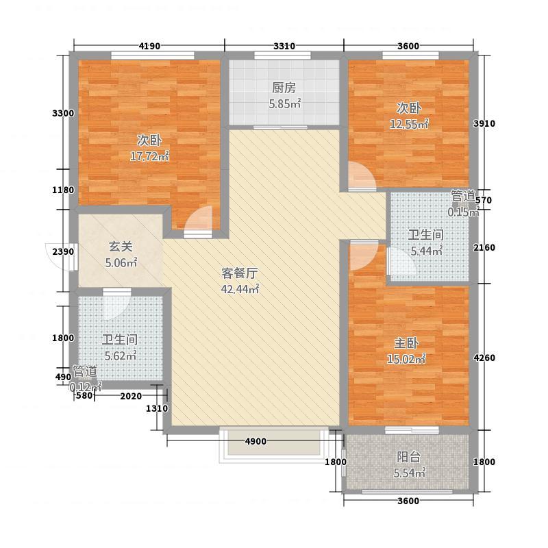 龙御湾23212.20㎡E2户型3室2厅2卫1厨