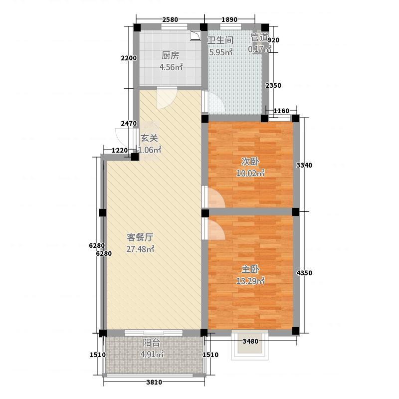 鑫品佳园424.82㎡A户型2室2厅1卫1厨