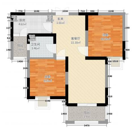 汇景公寓2室1厅1卫1厨82.00㎡户型图
