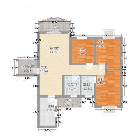 中央商务区CBD(南区)3室1厅2卫1厨76.60㎡户型图
