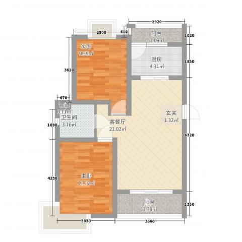 满庭芳2室1厅1卫1厨81.00㎡户型图