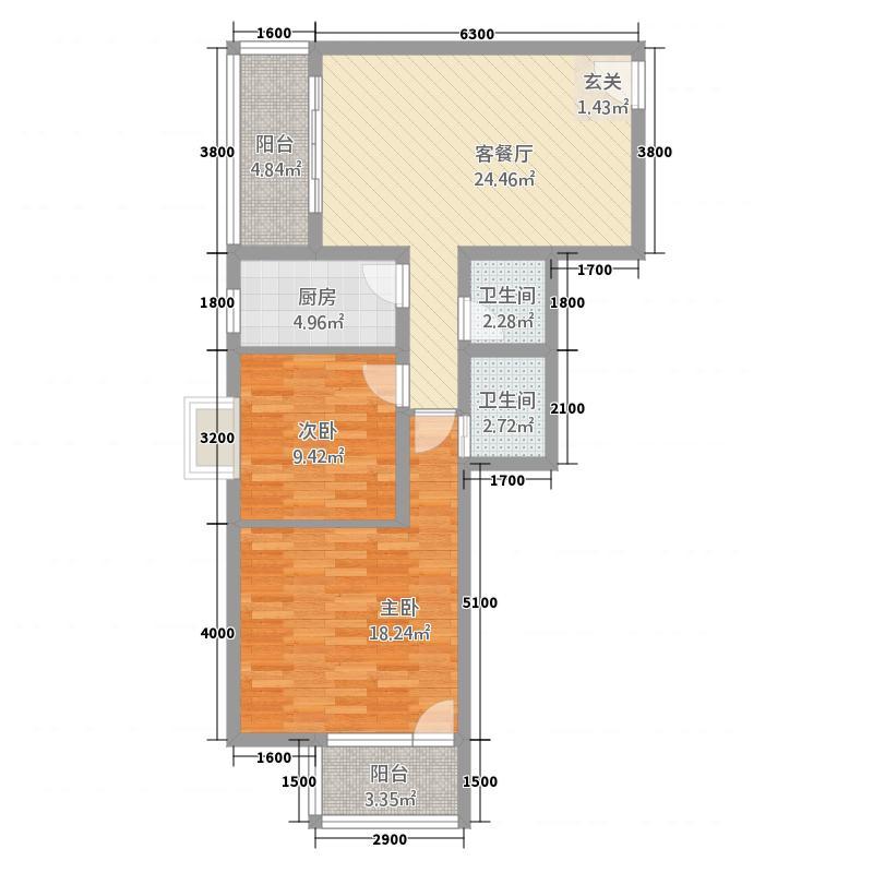 丰宝・王府井18.20㎡01户型3室2厅2卫1厨