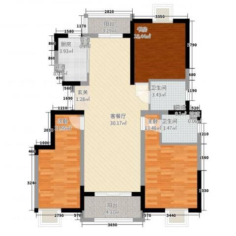 汇景公寓3室1厅2卫1厨121.00㎡户型图