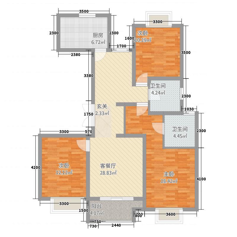 浅水湾・名门世家128.20㎡I户型3室2厅2卫1厨