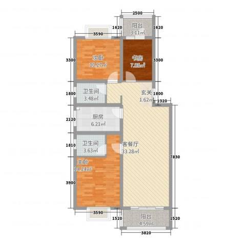 银信博雅世家3室1厅2卫1厨1313.00㎡户型图