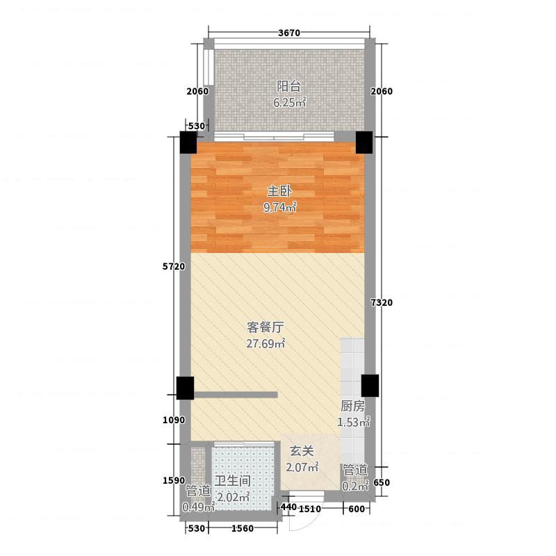 碧桂园金沙滩67.85㎡精装海景洋房J623-A户型1室1卫1厨