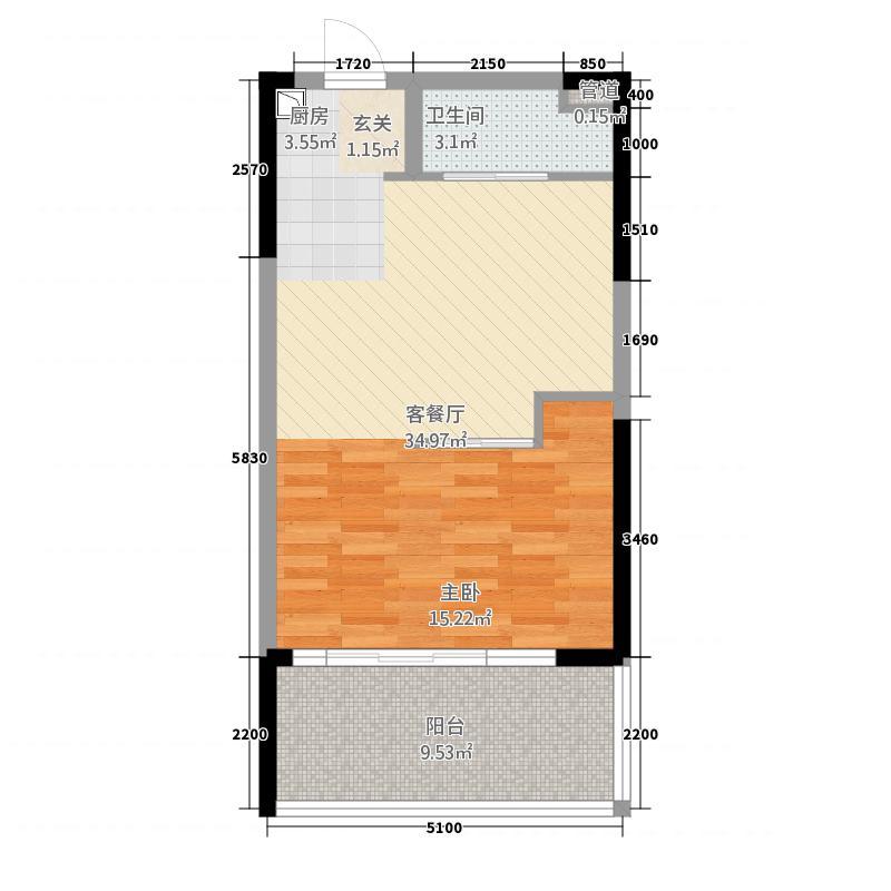 合正东部湾2157.20㎡A2户型1室1厅1卫