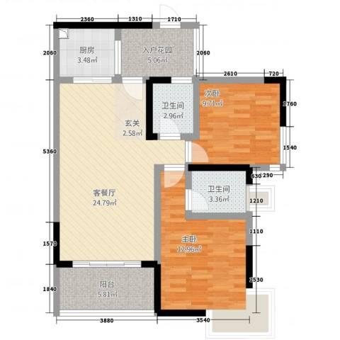奥兰半岛二期2室1厅2卫1厨1588.00㎡户型图