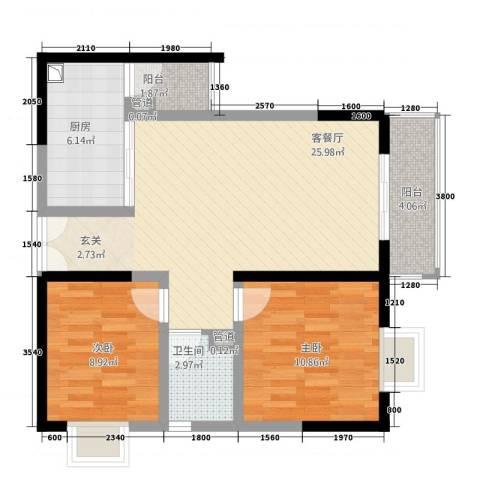 傣泐金湾二期品江苑2室1厅1卫1厨60.98㎡户型图
