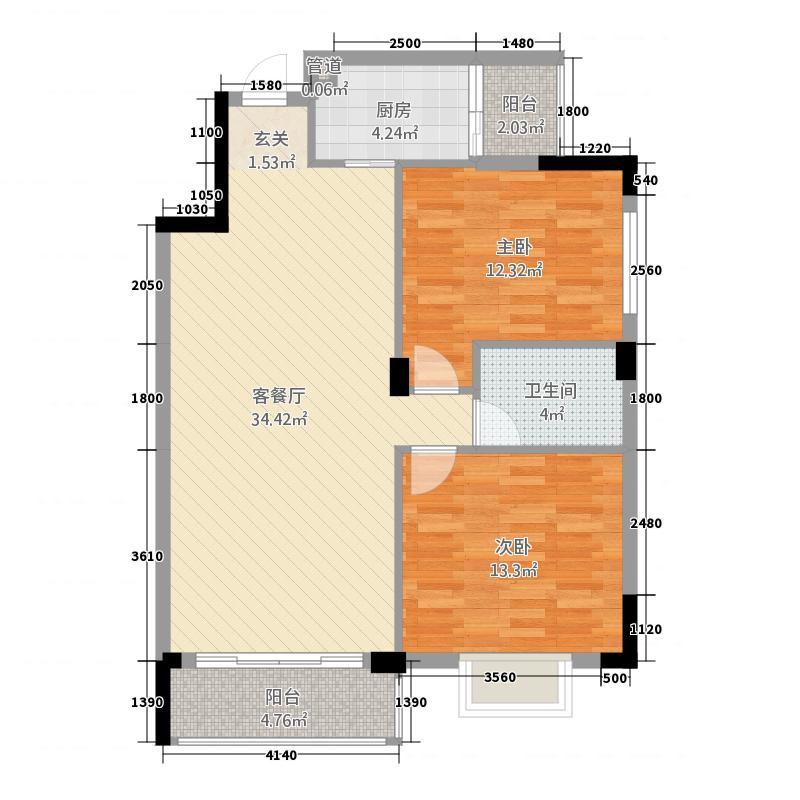 宝鼎名邸2212.16㎡户型2室2厅1卫1厨