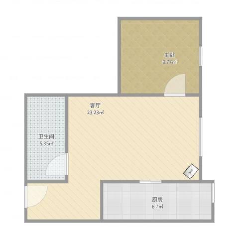 南海雅苑1502新1室1厅1卫1厨61.00㎡户型图