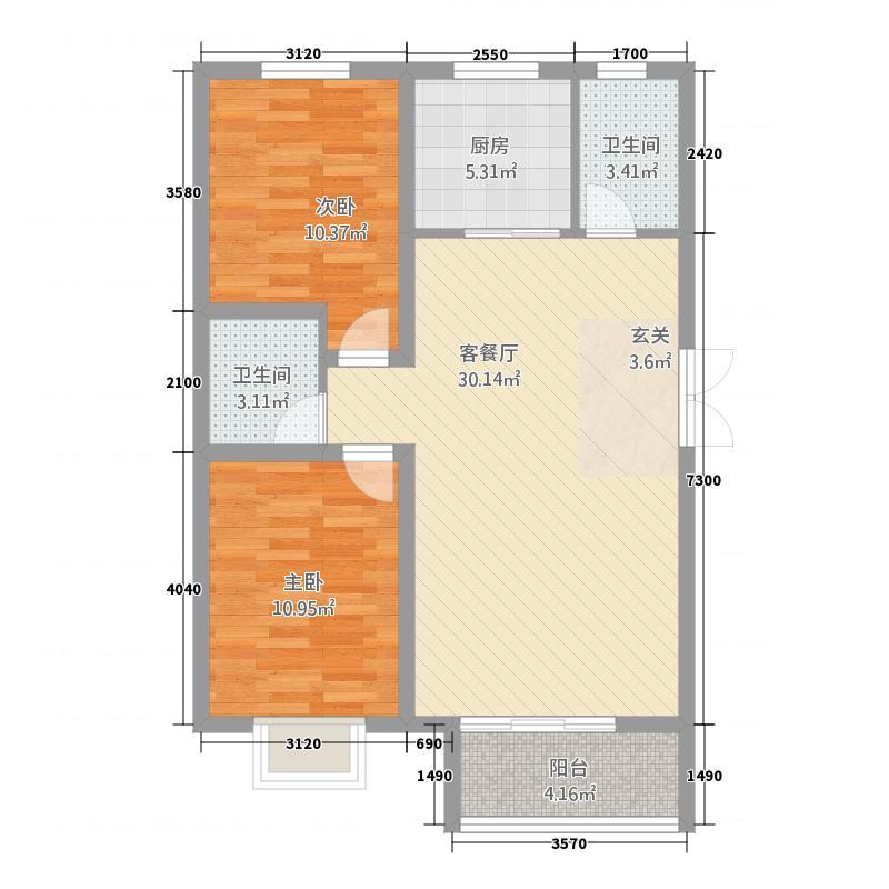 崇城国际16.28㎡高层C1户型2室2厅2卫1厨