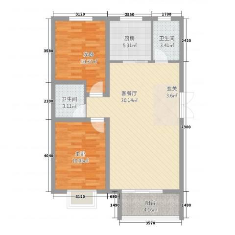 崇城国际2室1厅2卫1厨67.45㎡户型图