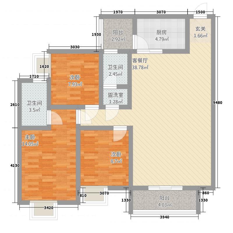 敦煌阳光现代城12.20㎡G户型3室2厅2卫1厨