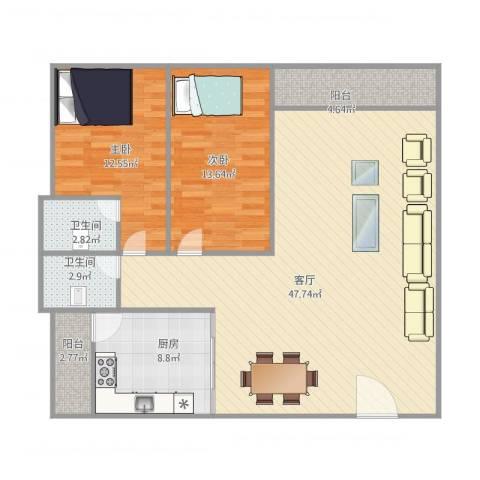 怡翠花园2室1厅2卫1厨128.00㎡户型图
