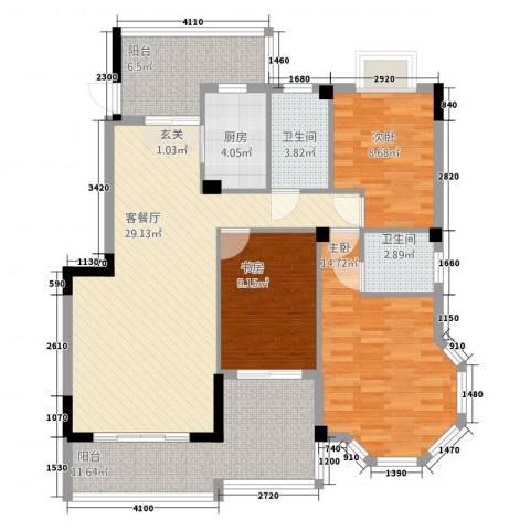 江都金域地中海3室1厅2卫1厨128.00㎡户型图
