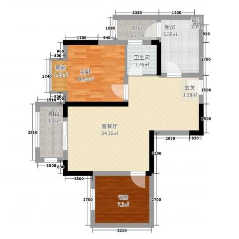 合川金科天籁城2室1厅1卫1厨82.00㎡户型图
