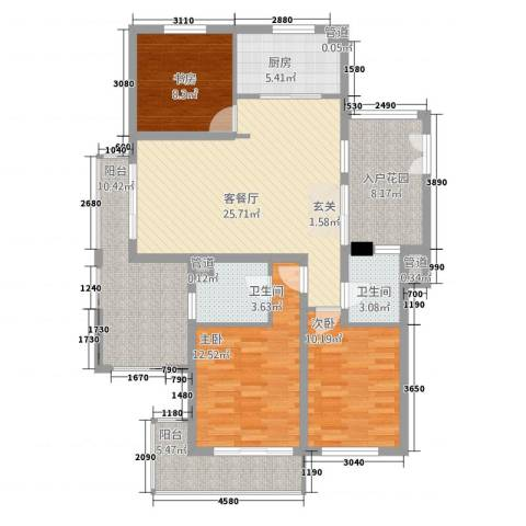 天地华城3室1厅2卫1厨135.00㎡户型图